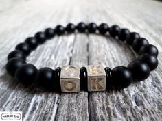 Mens bracelet mat onyx and silver plated beads gemstone natural beads stretch bracelets by EmilDesign on Etsy Handmade Market, Handmade Gifts, Craft Sale, Stretch Bracelets, Gemstone Beads, Silver Plate, Gemstones, Trending Outfits, Natural