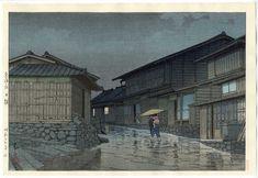 Hasui Kawase détail - Nissaka sous la pluie 1942 HK24