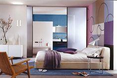 Schlafen und Wellness - zusammenfügen, was gefühlsmäßig zusammengehört: Bad und Bett stehen in direkter Sichtweite zueinander. Bei Bedarf verstecken sich...