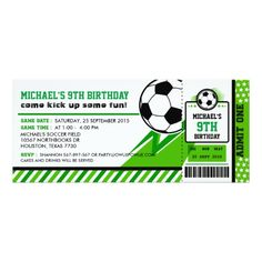Soccer Ticket Pass Birthday Party Invitation : Come kick up some FUN! Celebrate your Birthday with our Soccer Party Invitation. For more Party Ideas visit us Gender: unisex. Sports Themed Birthday Party, 70th Birthday Parties, Football Birthday, Soccer Party, Birthday Party Invitations, Baby Shower Invitations, Custom Invitations, Ticket Invitation, Kids Soccer