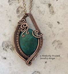 Chrysocolla Wire Wrap Pendant Necklace, Handmade Copper Wire Jewelry, Communication Stone, Antiqued Wire