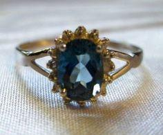 0.97 CARAT TW GENUINE DIAMOND & LONDON BLUE TOPAZ 10K SOLID WHITE GOLD RING