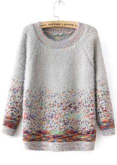 Grey Round Neck Mohair Sweater with Colorful Dots -SheIn(Sheinside) Camisola mohair cinza com gola redonda e pontos coloridos – SheIn (Sheinside) Fair Isle Knitting, Hand Knitting, Pull Mohair, Mohair Sweater, Knit Fashion, Knitting Designs, Pulls, Knitwear, Knit Crochet