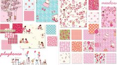 """""""playhouse"""" & """"meadow""""  by sarah jane for Michael Miller Fabrics"""