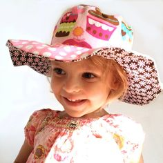 Cupcakes floppy brim sun hat for girls, reversible, cotton, wide brim