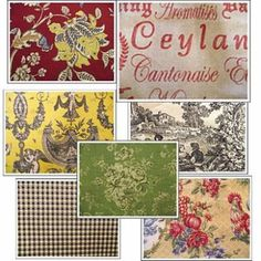 French Country fabrics have very vibrant colors. Yellow, blue, red, green, and black are some of most popular colors. Toile is an extremely popular fabric and paired with checked or stripe fabric makes a beautiful and very French combination.