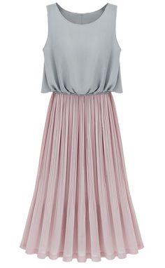 Grey Sleeveless Contrast Pink Pleated Maxi Dress - Sheinside.com