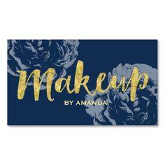 Makeup Artist Gold Script Navy Blue Vintage Floral Business Card
