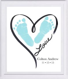 Heart Outline Footprint Wall Art 1200_pap von MyForeverPrints