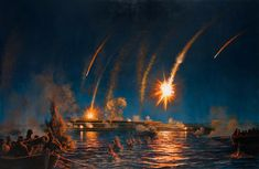 Perilous Night: Naval Attack on Fort McHenry - Original Oil Painting by Peter Rindlisbacher - Skipjack Nautical Wares Christian Religions, American History, Northern Lights, Nautical, Original Paintings, War, Night, Artist, Rockets