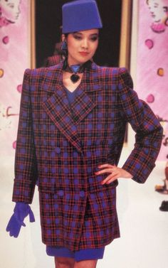 Givenchy Haute Couture- A/W 1987-88 Boxy Gandini Tessuti Alta Moda wool red and purple plaid coat jacket. L'officiel No.734- September 1987