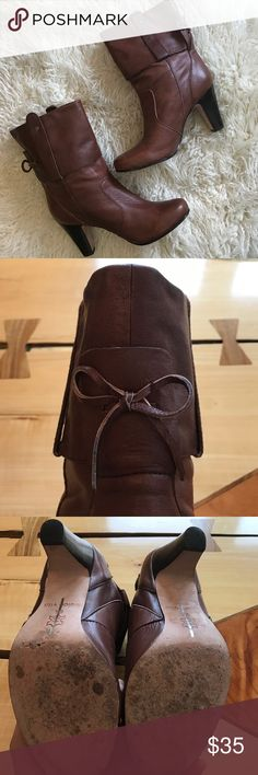 """Dolce Vita booties Leather Dolce Vita booties, size 9 with 3inch heel. Scuffing to sole and one """"scratch"""" on left boot. Otherwise very good condition Dolce Vita Shoes Ankle Boots & Booties"""