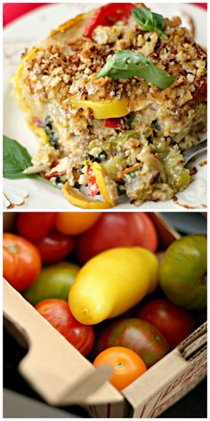 tomato, squash and red pepper gratin