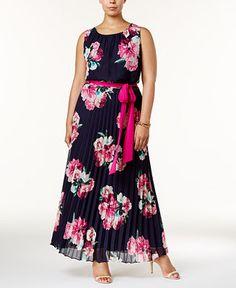 Jessica Howard Plus Size Floral-Print Pleated Maxi Dress - Dresses - Plus Sizes - Macy's