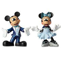 Disney Disneyland Minnie & Mickey Diamond Celebration 60th Figurine New With Box