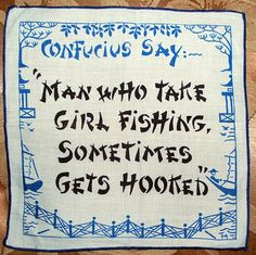"1960s cocktail napkin featuring whimsical ""Confucius Says"" sayings $13"