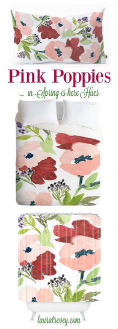 Pink Poppies in Spring-is-Here Hues. Shop this collection for home decor from bedding and beth - to entertaining on the patio this Spring with trays and matching coasters.