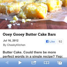 Ooey gooey butter cake bars Ooey Gooey Butter Cake, Cake Bars, Sweet Stuff, Sweets, Vegetables, Desserts, Recipes, Food, Tailgate Desserts