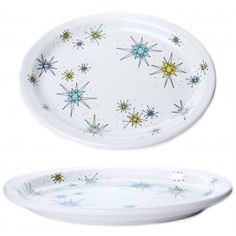 ATOMIC OVAL DINNER PLATE  Serve up your food on this out of this world atomic plate! This vintage reproduction plate features a retro starburst pattern in great vintage greens, blue & black.  $14.00