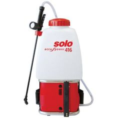 "Solo 416 12 Volt Cordless Electric 5-Gallon Backpack Sprayer by Solo. $296.96. Unbreakable 28"" spray wand w/ shut-off valve. Pressure and output volume adjustable with two-step toggle switch.  Step 1: 21 psi, step 2: 42 psi. Ergonomically shaped 5 Gal liquid tank, padded towards operator's back. Maintenance free 12 V lead-gel battery,  Express charging period approx. 5.2 hours.. Solo battery-powered backpack sprayer. There is no noise, no emission, no manual pu..."