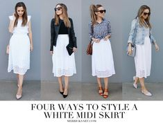 Image result for How to style white summer skirt