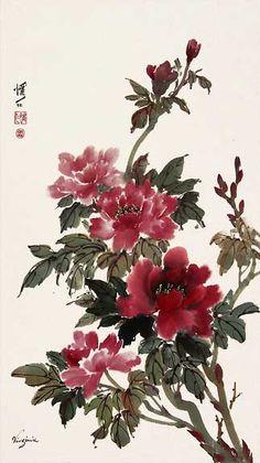 Chinese Brush Painting: peony passion
