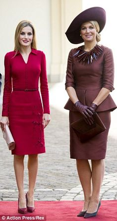 Looking good: Both Maxima (of Nethrlands)and Letizia (of Spain)had pulled out all the stops