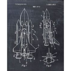 Space Shuttle Patent Print Patent Art Print Patent Poster NASA (29 RON) ❤ liked on Polyvore featuring home, home decor and wall art #patentartprints
