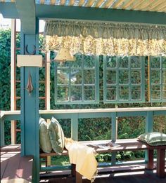 Dishfunctional Designs: Window of Opportunity: Old Salvaged Windows Get New Life As Unique Decor - old windows hanging to frame patio Old Windows, Windows And Doors, Recycled Windows, Porch Windows, Wooden Windows, Outdoor Rooms, Outdoor Living, Outdoor Decor, Outdoor Retreat