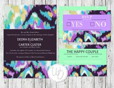 Aztec tribal watercolor wedding invitation suite by Wentroth Designs. Visit us on Facebook to request a price quote on any items for your upcoming special event!