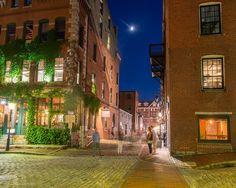 Portland, Maine USA July 2016 photo by Corey Templeton of the corner of Wharf…