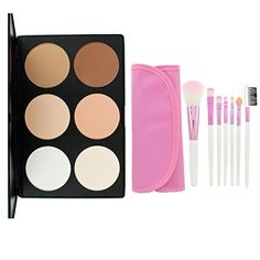 LEFV Professional 6 Color Concealer Camouflage Foundation Powder Contour Palette with Face Eye Lip Pink Brush Full Set Makeup Kit * Learn more by visiting the image link. Makeup Set For Beginners, Eye Lip, Powder Contour, Makeup Sets, Contour Palette, Powder Foundation, Full Set, Concealer, Makeup Brushes