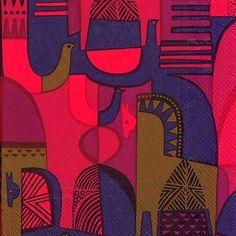 Marimekko Talvitarina red horse and bird paper table 33cm square napkins | eBay