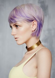 short layered hair with fringe in platinum and purple #shorthair #haircut