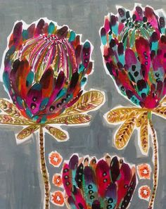 Alice Smith recently graduated from Loughborough University in printed textile design. After exhibiting at New Designers in London and co. Flower Patterns, Print Patterns, Protea Art, Illustrations, Illustration Art, Art Journal Pages, Whimsical Art, Botanical Art, Flower Art