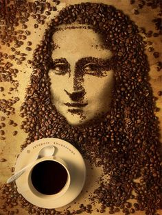 Mona Lisa reCreated Just By Coffee Beans! That's an absolutely incredible artwork!