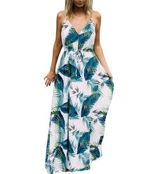 a0eba4cc3bb5 Floral Boho Spaghetti strap v neck backless palm leaves printed maxi dress.  New Long DressSummer Dresses For WomenVintage Summer DressesBeach ...