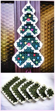 Vintage Granny Square Christmas Tree Free Crochet Pattern-Video – 37 super easy diy christmas crafts ideas for kidslaser cut ornament wooden christmas tree ideacardigan as square for beginners size all oversize… Knitted Christmas Decorations, Crochet Christmas Wreath, Christmas Tree Pattern, Christmas Crochet Patterns, Holiday Crochet, Christmas Knitting, Christmas Diy, Vintage Christmas, Christmas Island
