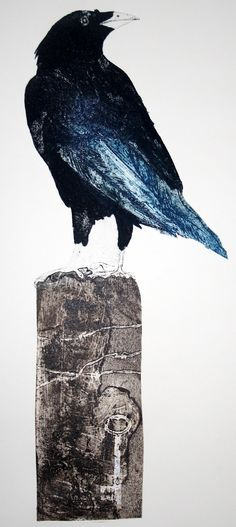 Rooks collagraph with luggage tag by Sue Brown. Ex Libris, Raven Art, Collagraph, Crows Ravens, Bird Artwork, Mo S, Wood Engraving, Gravure, Spirit Animal
