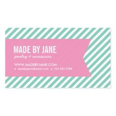 81 best business cards for women images on pinterest business card aqua and pink modern stripes and ribbon double sided standard business cards pack of colourmoves