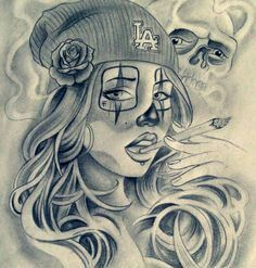 Tattoos For Girls Arte Cholo, Cholo Art, Tattoo Girls, Girl Tattoos, Tatoos, Skull Tattoos, Body Art Tattoos, Clown Tattoo, Tattoo Sketches