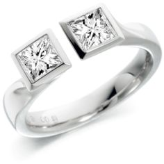 Double Diamond Ring in 18ct white gold #rings