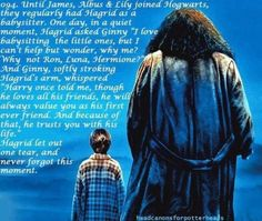 When people say Harry didn't have any father figure, that he lost them all. His real father died same with Sirius. They must have forgotten that Hagrid loved him, he was the best father figure in the world. Now I have made myself cry over Harry Potter Headcanon Harry Potter, Harry Potter Facts, Harry Potter Love, Harry Potter Fandom, Harry Potter World, Hermione Granger, Movies Quotes, Must Be A Weasley, Bae