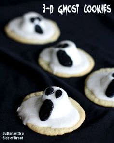 3-D Ghost Cookies ~ so cute and easy too! Butter with a Side of Bread #recipe #halloween