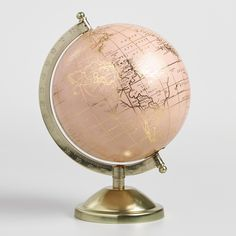 Blush and Gold Globe on Brass Stand by World Market is part of Gold Pink decor Decorative Accents Pretty in pink with gold lettering and a lacquered brass base, our dazzling globe brings a dash of g - Blush And Gold Bedroom, Rose Gold Rooms, Rose Gold Decor, Rose Gold Bedroom Accessories, Rose Gold Lamp, Rose Gold Interior, Deco Tumblr, Gold Office Decor, Luxury Bedrooms