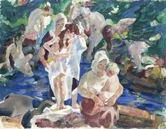 """""""Amish Bath Time,"""" John Edward Costigan, watercolor on paper, private collection."""