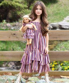 Love this Marsala & Toasted Almond Stripe Angel Dress & Doll Dress - Girls by Lilli Lovebird on #zulily! #zulilyfinds