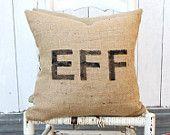 EFF Burlap Pillow $38 #chevron #zigzag