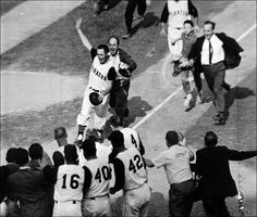 Game 7 of the 1960 World Series. Pirates vs. Yankees. Bottom of the 9th inning. Game tied 9-9. Light-hitting second baseman Bill Mazeroski comes to bat and hits a walk-off home run to win the World Series and give the Pirates their first title in 35 years.