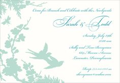 Personalized Turquoise Sillhouette Invitations